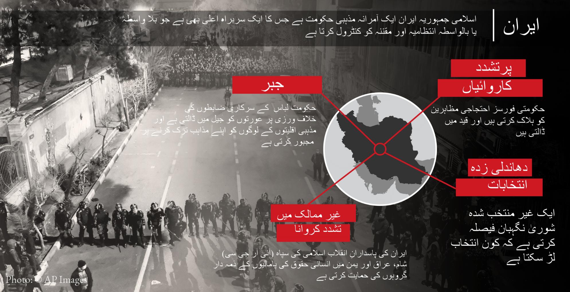 © AP Images کی تصویر پر چسپاں ایران میں انسانی حقوق کی صورت حال کے بارے میں تصویری خاکہ۔ (State Dept.)