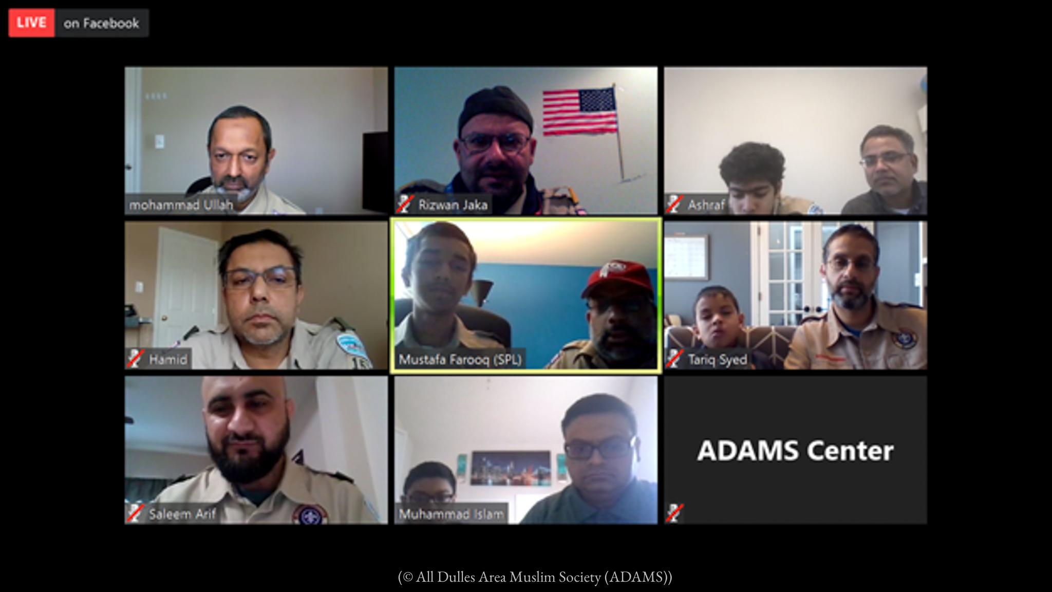 Múltiples pantallas que muestran a hombres y niños comunicándose en línea (© Sociedad Musulmana del Área de Dulles (ADAMS))