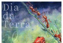 Cartaz ilustrado com a imagem de uma rã-flecha venenosa e formigas-de-fogo (Depto. do Estado/D. Thompson)