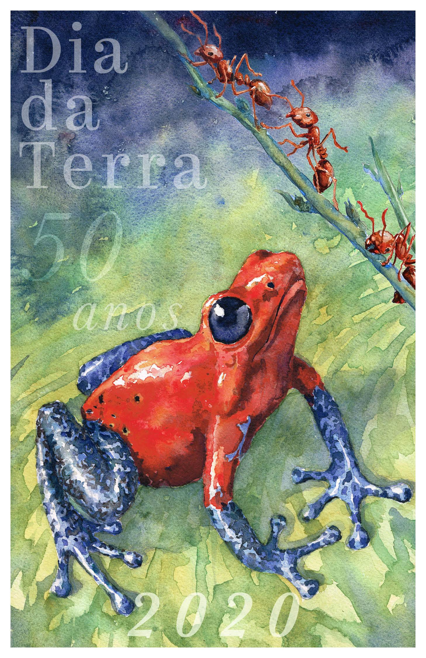 """Cartaz colorido sobre o meio ambiente com ilustração de um sapo vermelho e azul olhando para formigas vermelhas em um galho. E texto com os dizeres: """"Dia da Terra 50 anos 2020"""" (Depto. do Estado/D. Thompson)"""
