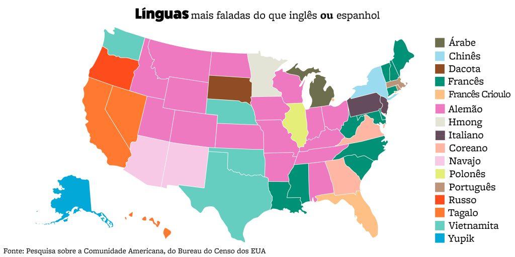 Mapa dos Estados Unidos com palavras mostrando as preferências de idioma por estado