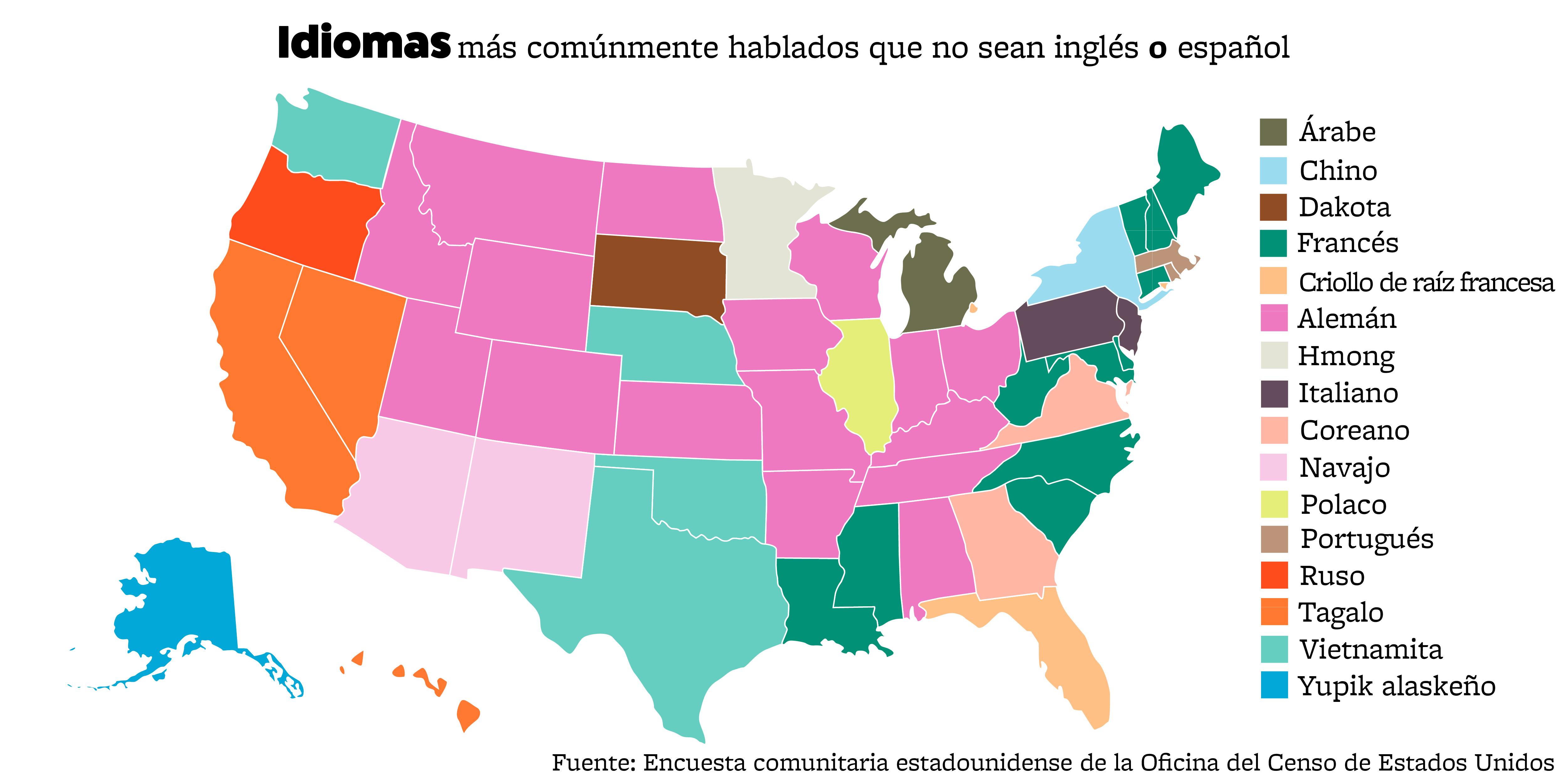 Mapa de Estados Unidos con texto que muestra las preferencias de idioma por estado. (Depto. de Estado)