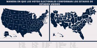 Dos mapas de Estados Unidos, uno con estados dimensionados de acuerdo a sus votos electorales (Depto. de Estado/J. Maruszewski; Imágenes: © Shutterstock)