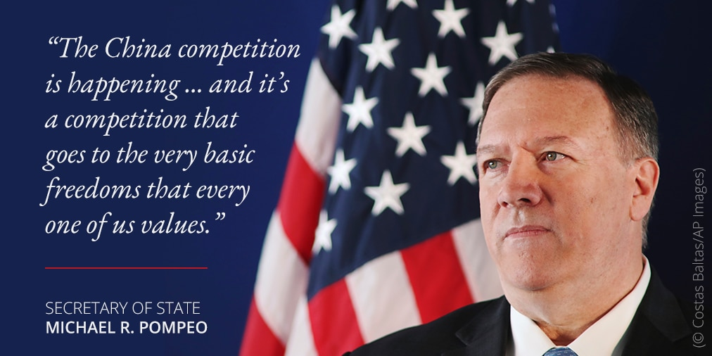 Photo of Pompeo and quote about China competition (© Costas Baltas/AP Images)