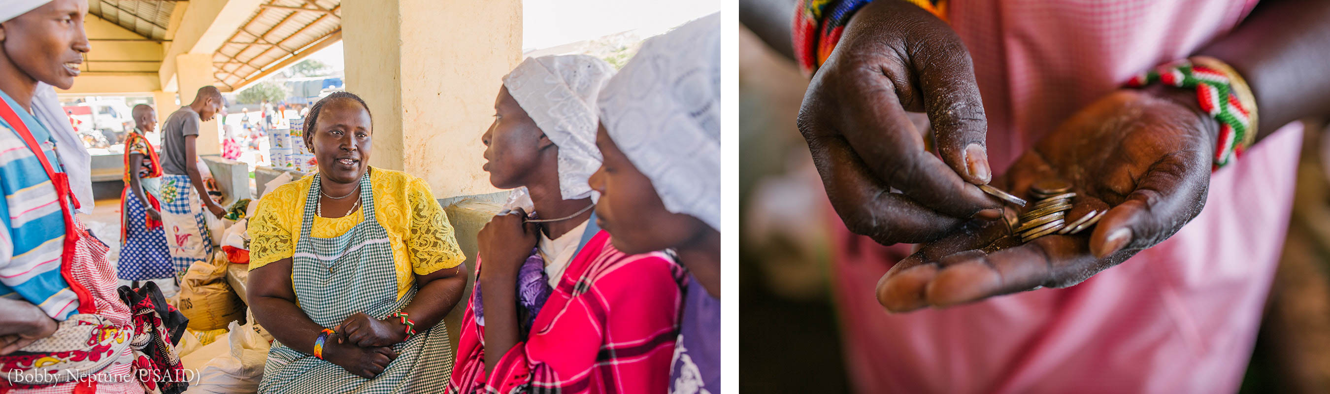 Left photo: Women in a small group talking at a market. Right photo: Hands holding out coins (Bobby Neptune/USAID)