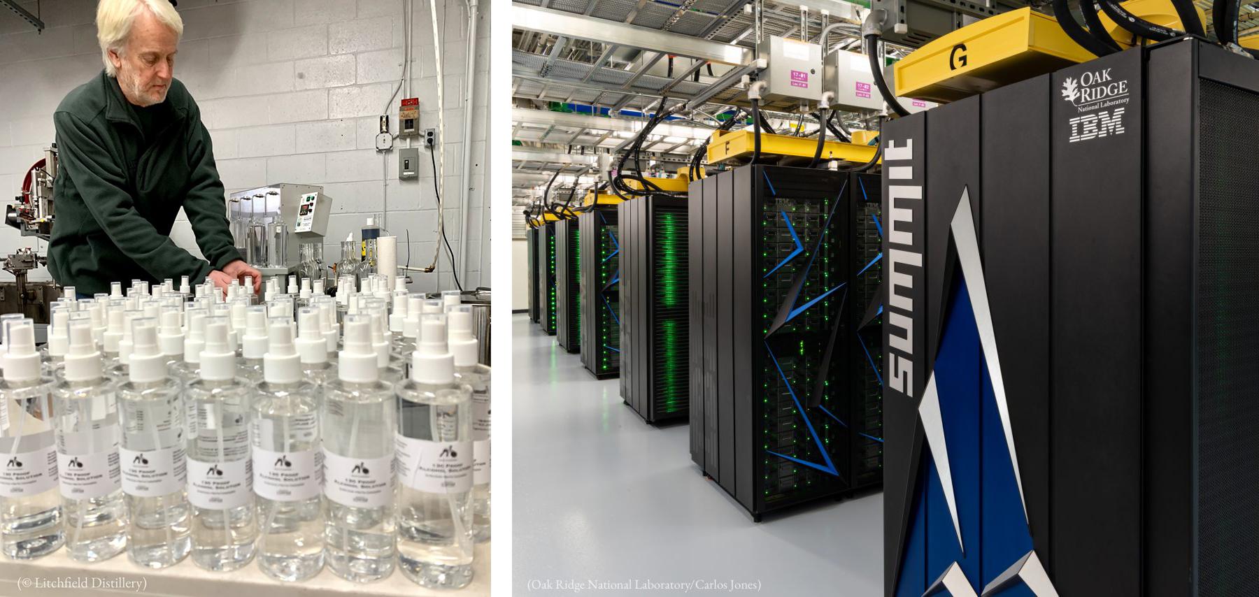 دو تصویروں کا مجموعہ جس میں ایک آدمی میز پر پڑی بوتلوں کے پاس کھڑا ہے (© Litchfield Distillery) اور دوسری تصویر میں کمپیوٹر نیٹ ورک سرورز کا کمرہ دکھائی دے رہا ہے۔ (Oak Ridge National Laboratory/Carlos Jones)