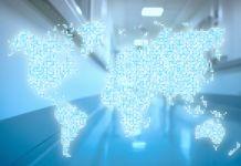 Digital illustration of world map superimposed on image of hospital hallway (© Shutterstock)