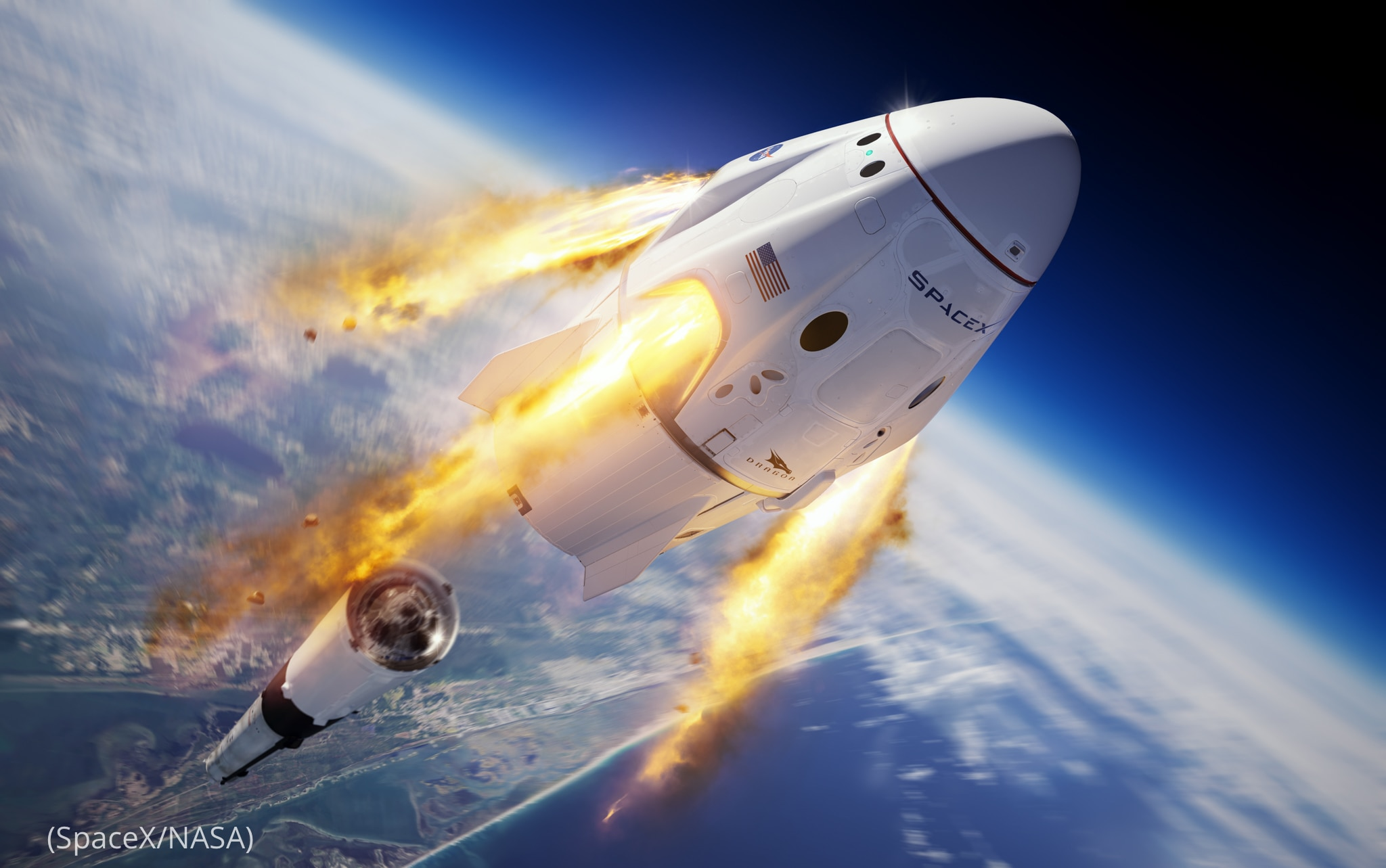 Illustration showing SpaceX Crew Dragon spacecraft separating from Falcon 9 rocket in space (SpaceX/NASA)