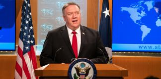 Michael R. Pompeo at lectern (State Dept./Ronny Przysucha)