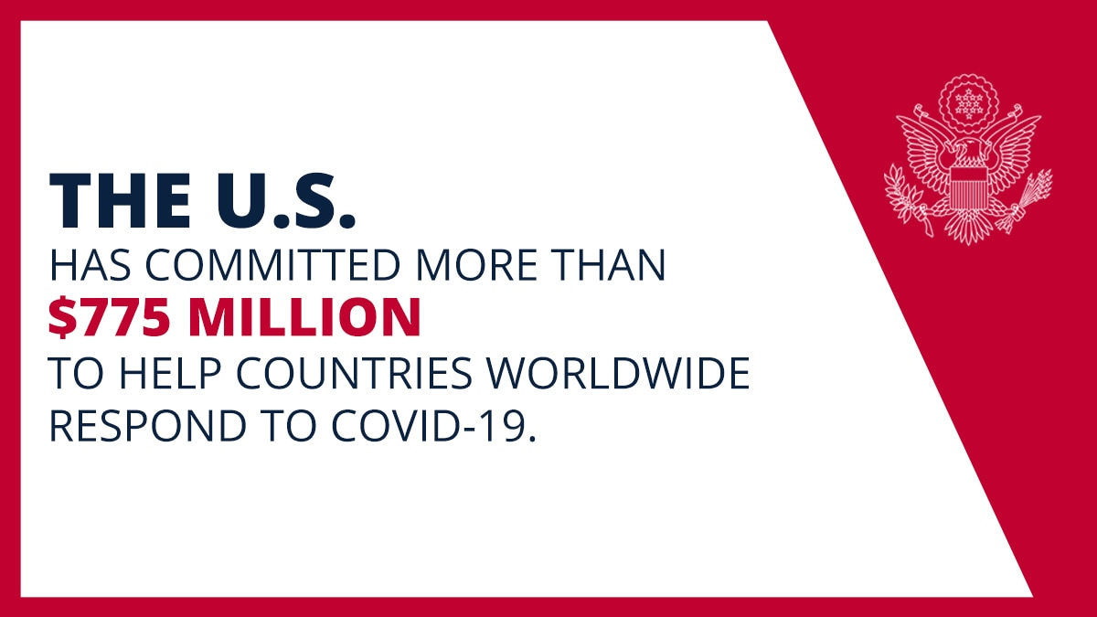 Graphic saying U.S. has committed more than $775 million to fight COVID-19 worldwide (State Dept.)