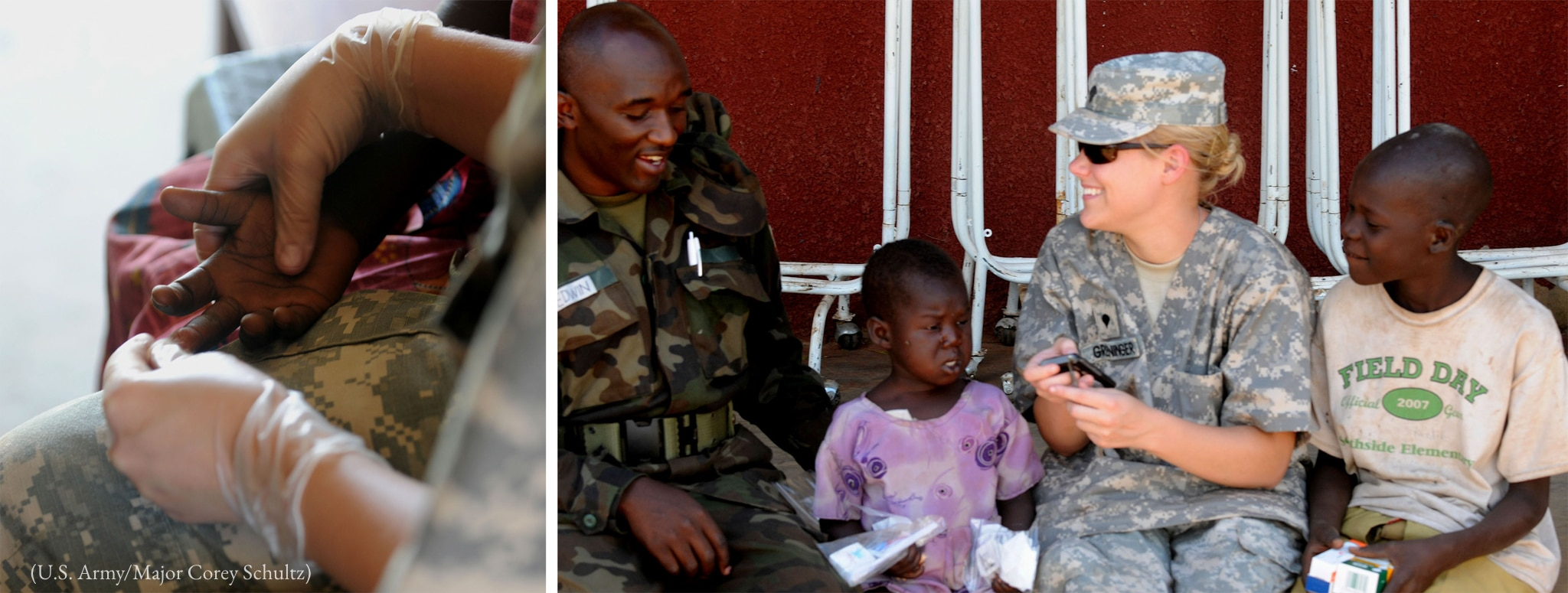 Left photo: Gloved hand of adult holding hand of child. Right photo: African man and American woman in camouflage uniforms seated with girl and boy (U.S. Army/Major Corey Schultz)