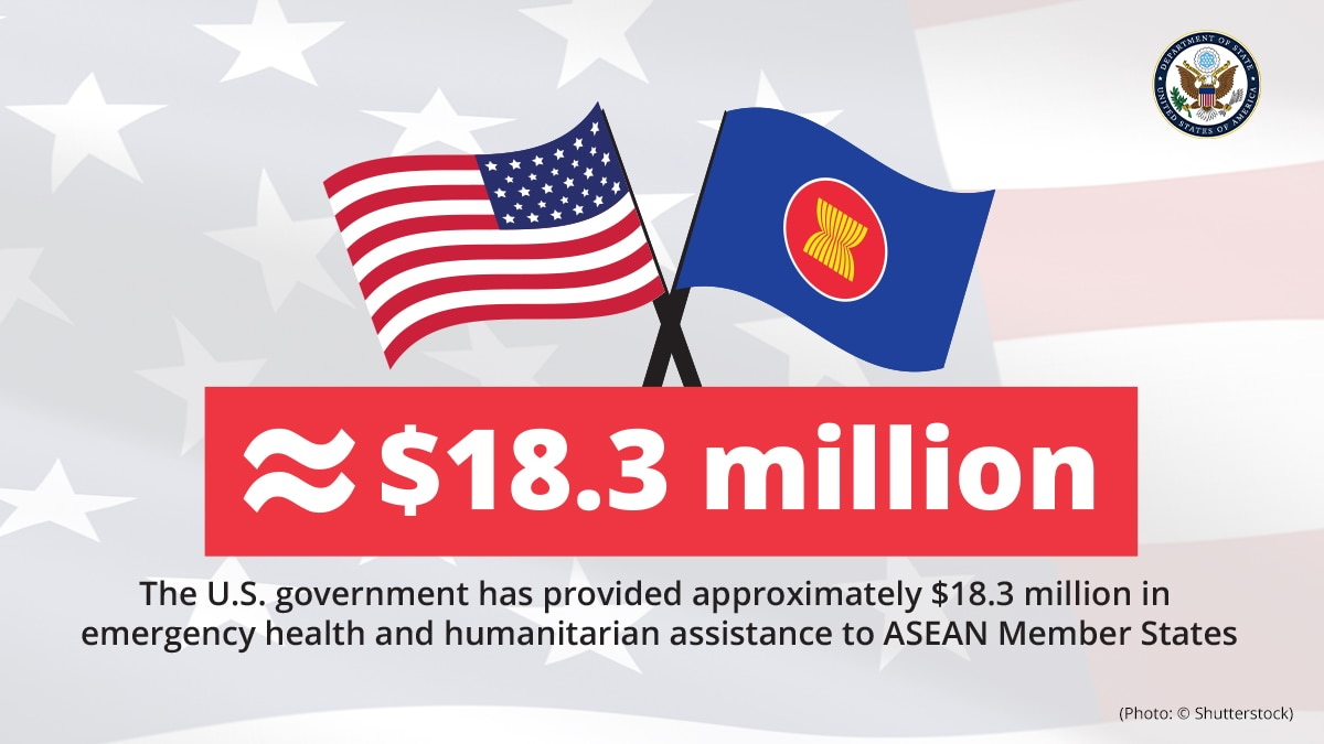 Graphic showing U.S. and ASEAN flags and $18.3 million figure for U.S. assistance to member states (Graphic: State Dept./Photo: © Shutterstock)