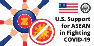 Graphic depicting hands touching ASEAN flag and coronavirus image crossed out (State Dept.)