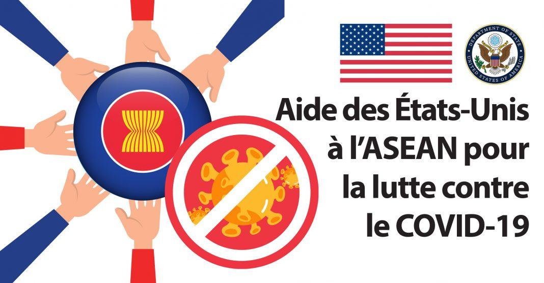 Dessin de mains qui touchent le drapeau de l'ASEAN et le dessin du coronavirus barré (Département d'État)