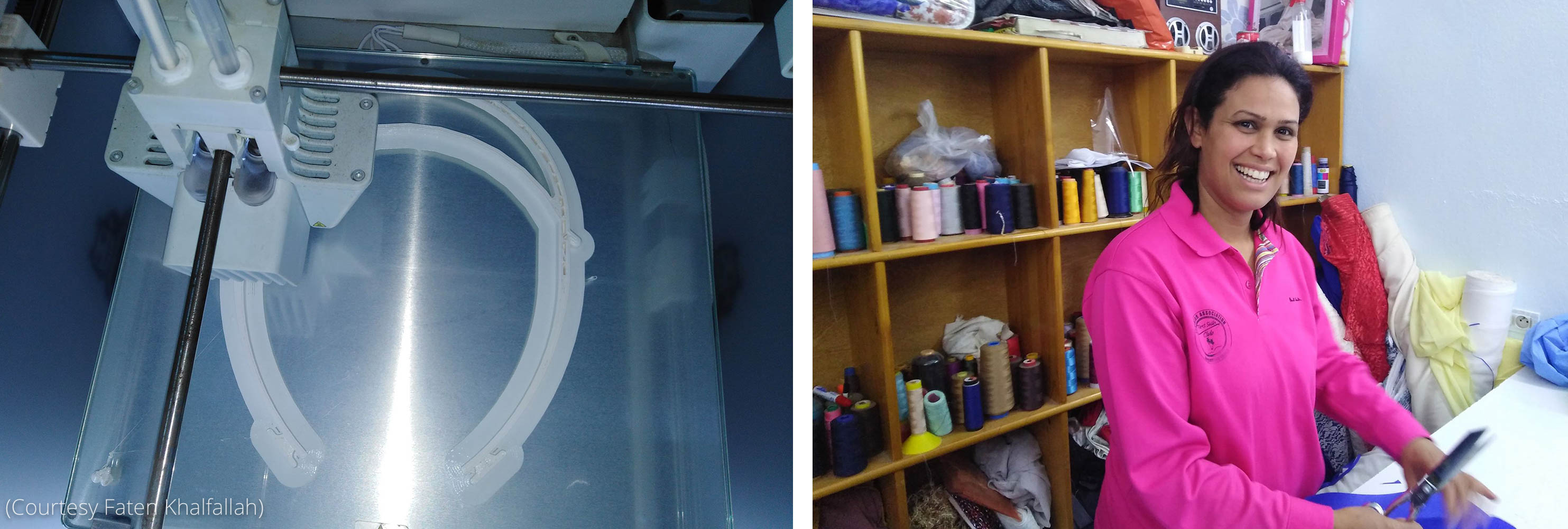Left: 3D printout of protective equipment. Right: Faten Khalfallah holding scissors and standing by shelves (Courtesy Faten Khalfallah)