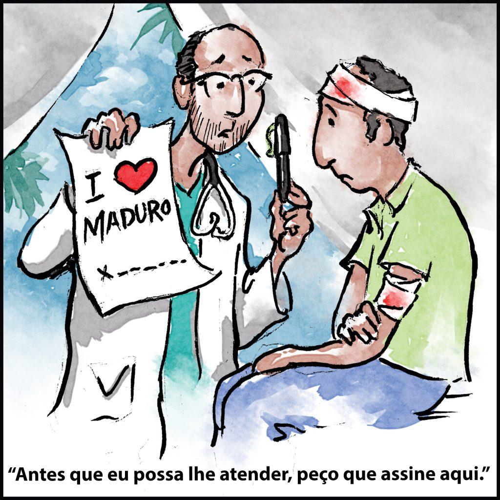 Ilustração de médico segurando caneta e mostrando a um paciente documento de apoio a Maduro (D. Thompson/Depto. de Estado)