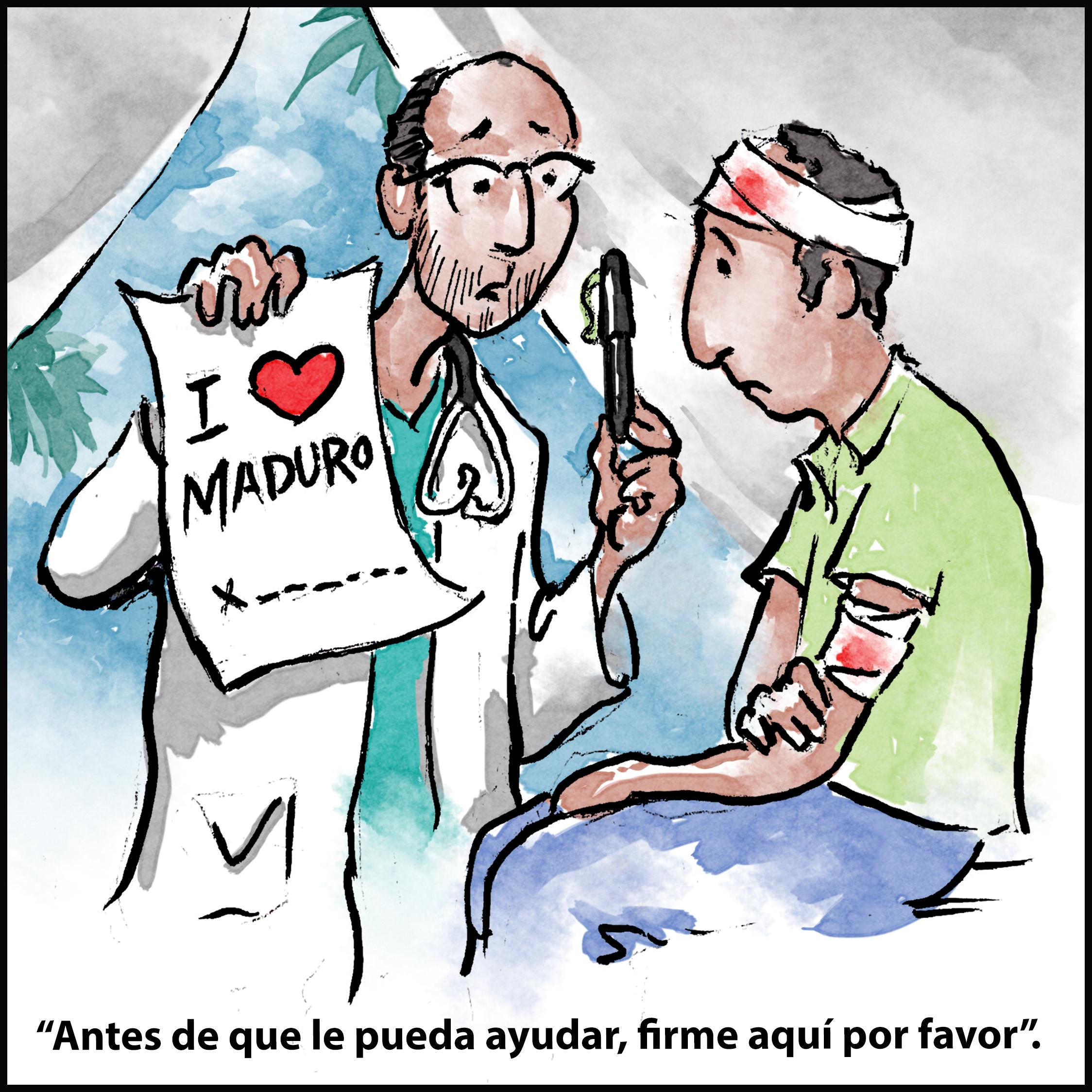 Ilustración de un médico que sostiene una pluma y un papel en apoyo a Maduro frente a un paciente (D. Thompson/Depto. de Estado)