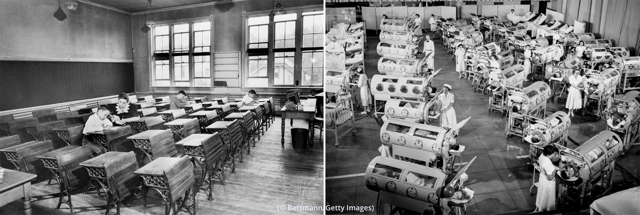 بائیں: تقریباً خالی کمرہ جماعت۔ دائیں: ہسپتال کے ایک وارڈ میں آئرن لنگز نامی بستروں پر لیٹے مرِیضوں کا بلندی سے ایک منظر۔ (© Bettmann/Getty Images)