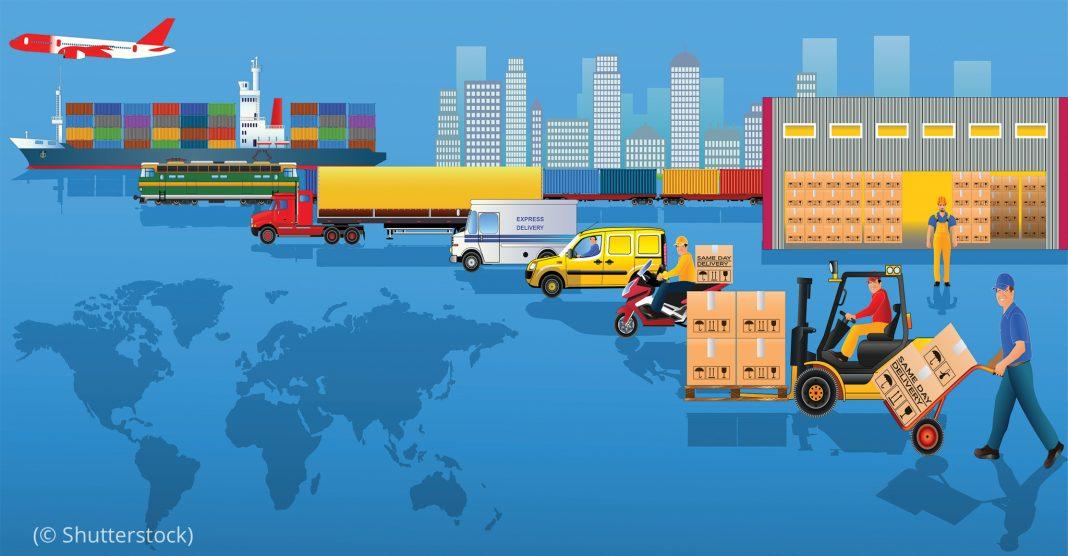 说明产品运输的不同方式的绘画(© Shutterstock)
