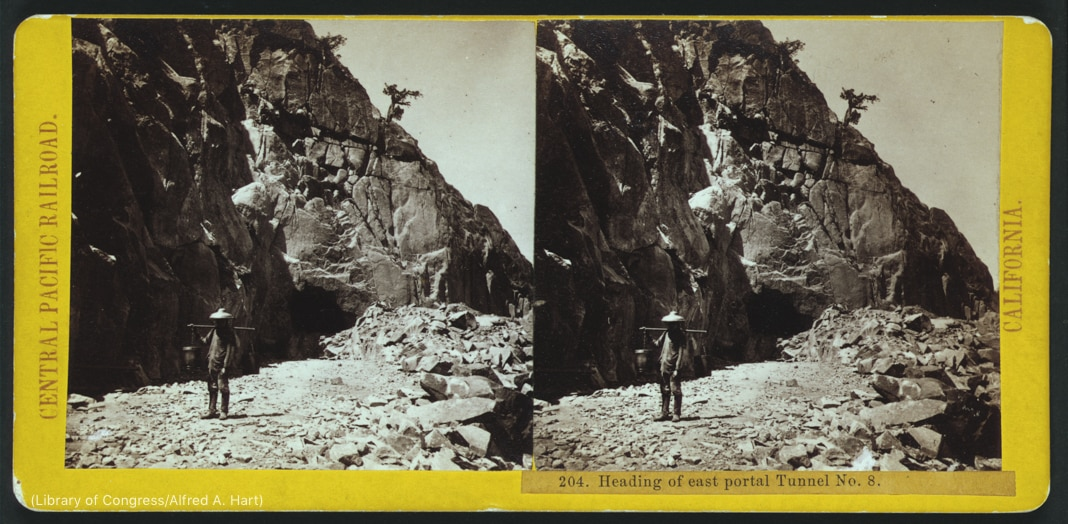Two pictures of person standing in rocky landscape (Library of Congress/Alfred A. Hart)