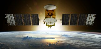 An illustration of a satellite flying in space (NOAA)