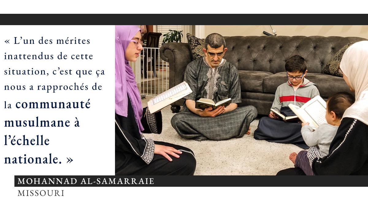 Photo de personnes assises en cercle sur la moquette et en train de lire, avec, à gauche, une citation sur les mérites inattendus du ramadan pendant le COVID-19 (Photo offerte par Mohannad Al-Samarraie. Infographie : Département d'État/S. Gemeny Wilkinson)