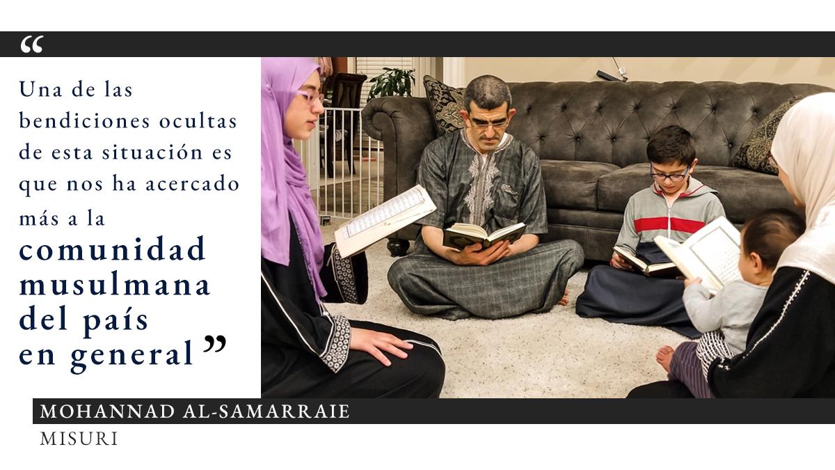 Foto de los miembros de una familia sentados en un círculo en el suelo alfombrado en una casa leyendo libros, junto con una cita sobre las bendiciones ocultas del ramadán durante COVID-19 (Foto cedida por Mohannad Al-Samarraie. Gráfico: Depto. de Estado/S. Gemeny Wilkinson)