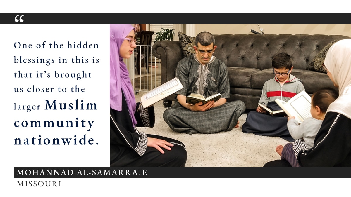 Photo of family members sitting in a circle on carpeted floor in home reading from books, alongside quote on hidden blessings of Ramadan during COVID-19 (Photo: Courtesy of Mohannad Al-Samarraie. Graphic: State Dept./S. Gemeny Wilkinson)