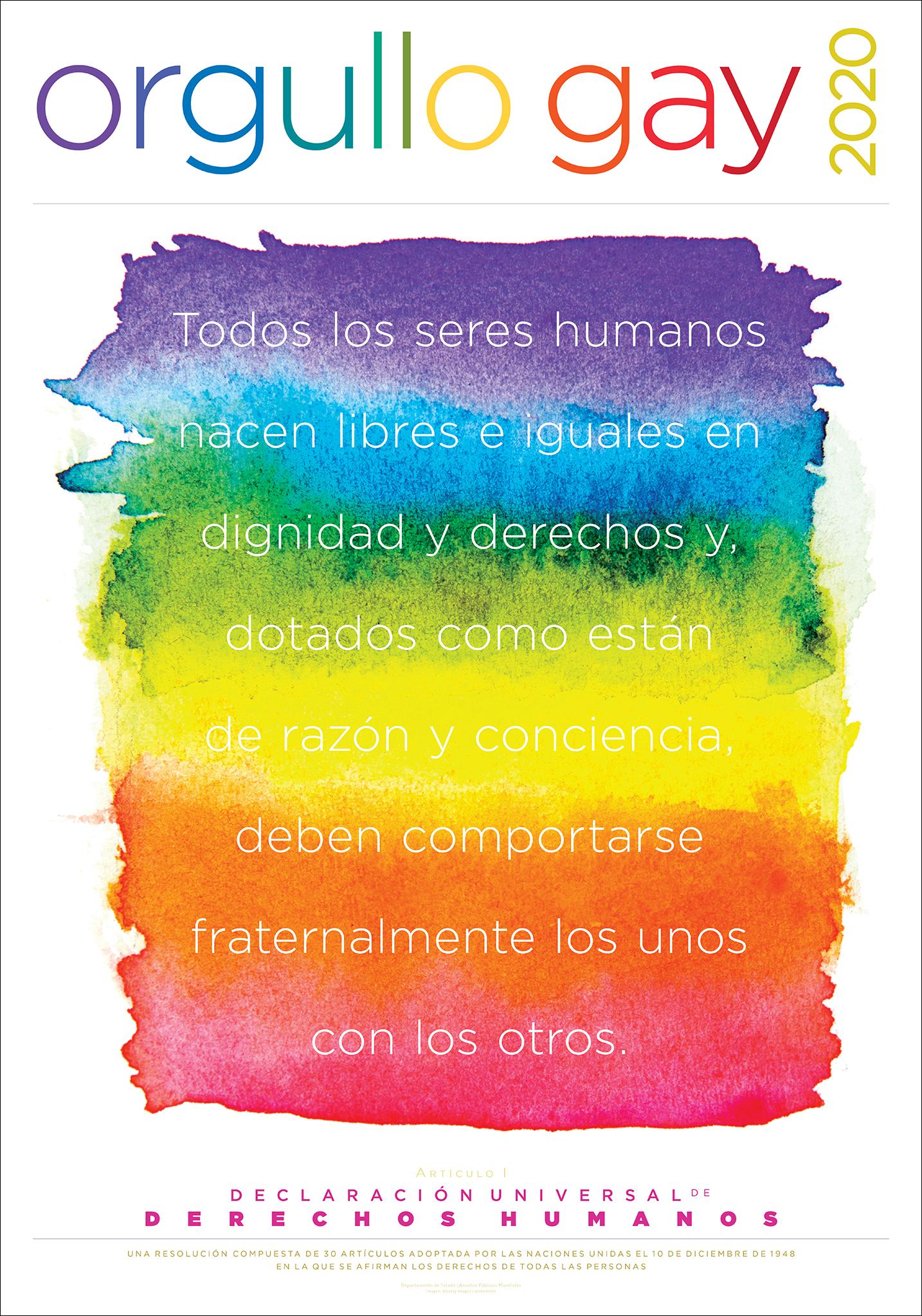 Póster del Mes del Orgullo Gay 2020 con cita sobre derechos humanos (Depto. de Estado/D. Hamill)