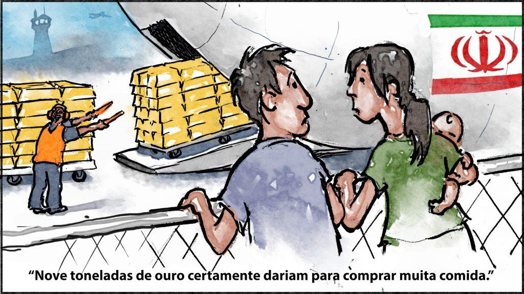 """Ilustração com ouro sendo carregado para dentro de uma aeronave e um homem atrás de cerca dizendo à mulher segurando bebê: """"Nove toneladas de ouro certamente dariam para comprar muita comida."""" (Depto. de Estado/D. Thompson)"""