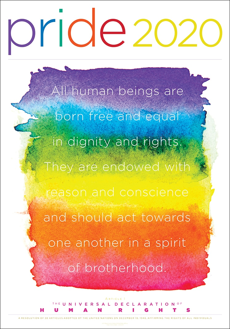 Pride Month 2020 poster with quote about human rights (State Dept./D. Hamill)