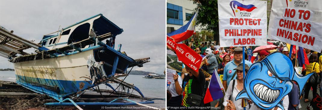 بائیں، ایک تباہ شدہ کشتی۔ دائیں، کتبے اور جھنڈے اٹھائے احتجاجی مظاہرین۔ (© Government Handout/Department of Agriculture/AP Images) (© Bullit Marquez/AP Images)