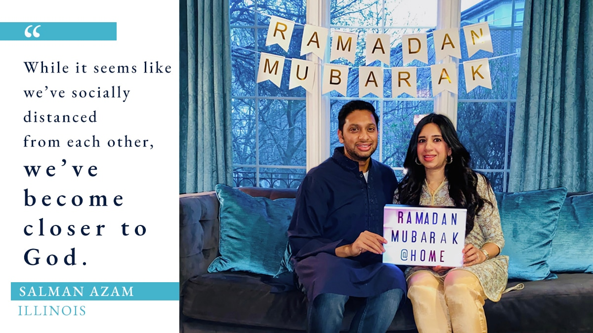 Photo of man and woman sitting on couch in room with Ramadan decorations, beside quote about Ramadan during COVID-19 (Photo: Courtesy of Salman Azam. Graphic: State Dept./S. Gemeny Wilkinson)
