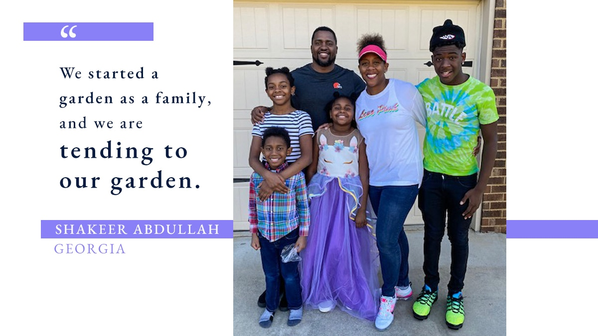 Photo of man, woman and four children, with quote about tending garden during Ramadan (Photo: Courtesy of Shakeer Abdullah. Graphic: State Dept./S. Gemeny Wilkinson)