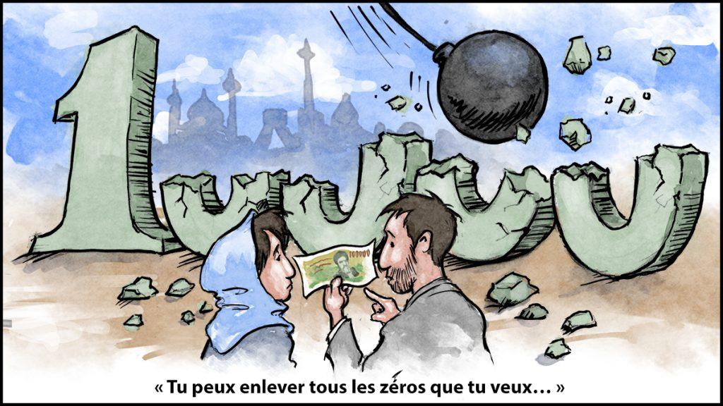 Dessin de bande dessinée avec une boule de démolition en train de percuter les zéros d'un «10000» en pierre et un homme disant à une femme «Tu peux enlever tous les zéros que tu veux…» (Département d'État/D. Thompson)