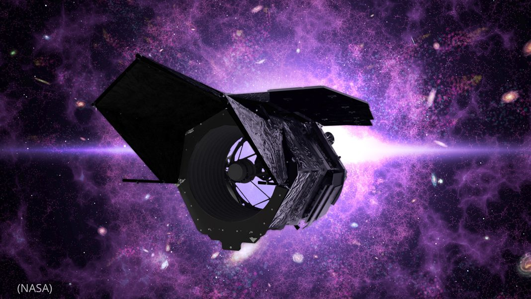 Artist's conception of space telescope in front of nebula (© NASA)