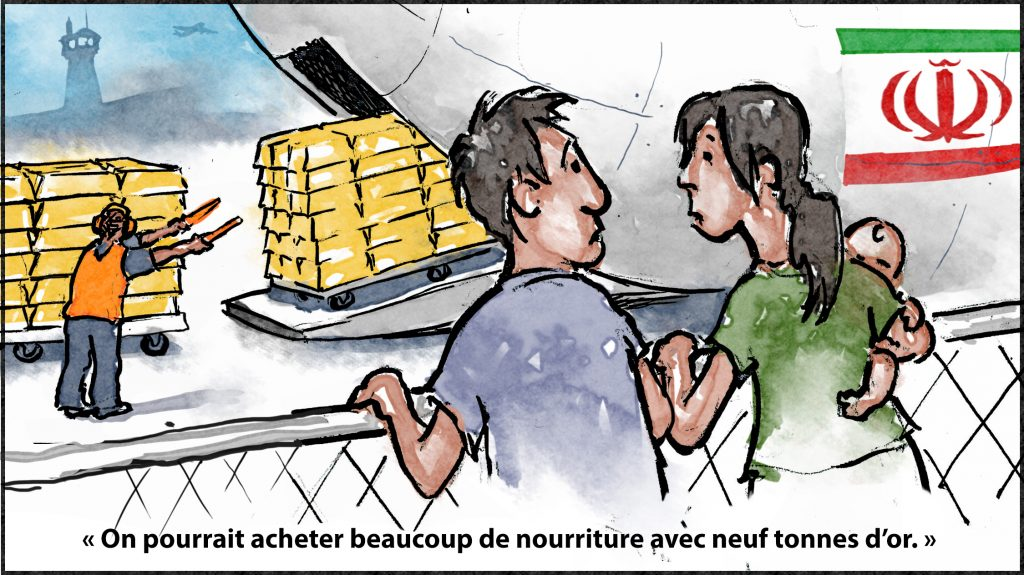 Illustration de lingots d'or en train d'être chargés à bord d'un avion avec un homme derrière un grillage disant à une femme avec un bébé « on pourrait acheter beaucoup de nourriture avec neuf tonnes d'or » (Département d'État/D. Thompson)