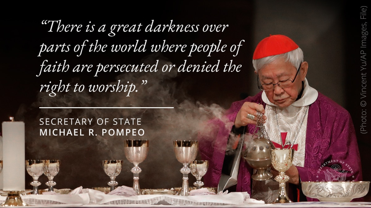 """Photo illustration of man with religious objects and quote """"There is a great darkness over parts of the world where people of faith are persecuted or denied the right to worship"""" (© Vincent Yu/AP Images)"""