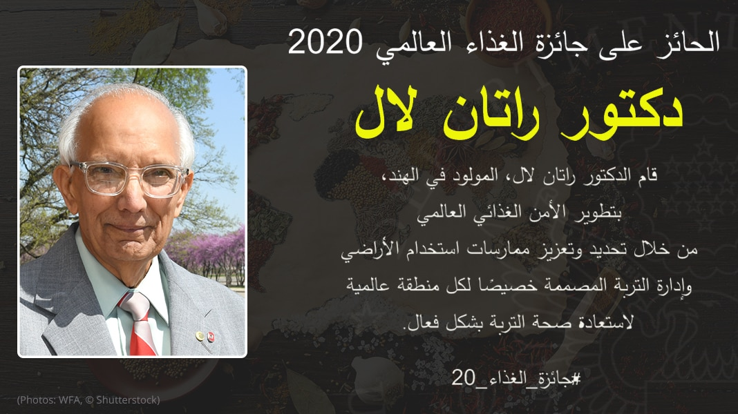Graphic with photo of Rattan Lal and text describing his accomplishments (State Dept./B. Insley; Photos: WFA, © Shutterstock)