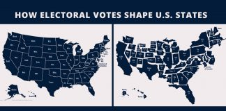 Two U.S. maps, one with states sized according to their electoral votes (State Dept./J. Maruszewski; Images: © Shutterstock)