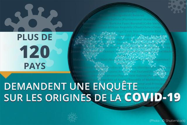 Infographie sur laquelle est notée la phrase Plus de 120 pays demandent une enquête sur les origines de la COVID-19. (Département d'État/Manuel Rios)