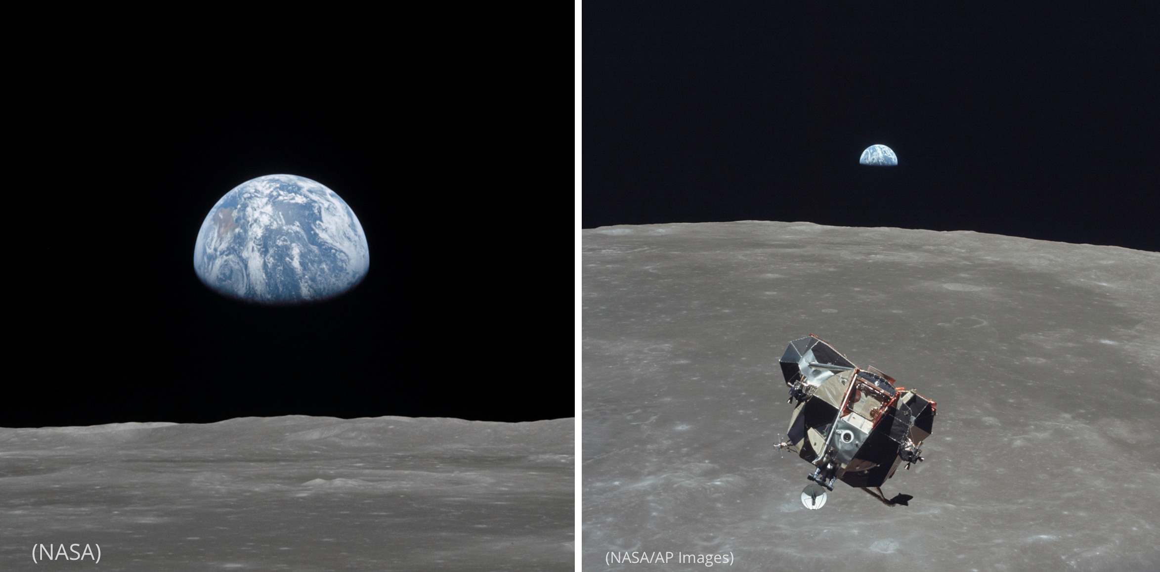 Photo of Earthrise over the lunar horizon (NASA) next to photo of the lunar module in space (NASA/AP Images)