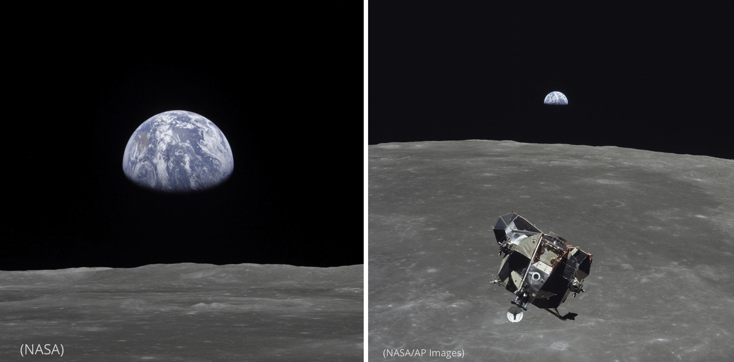 Foto de la Tierra sobre el horizonte lunar (NASA) junto a una foto del módulo lunar en el espacio (NASA/AP Images)