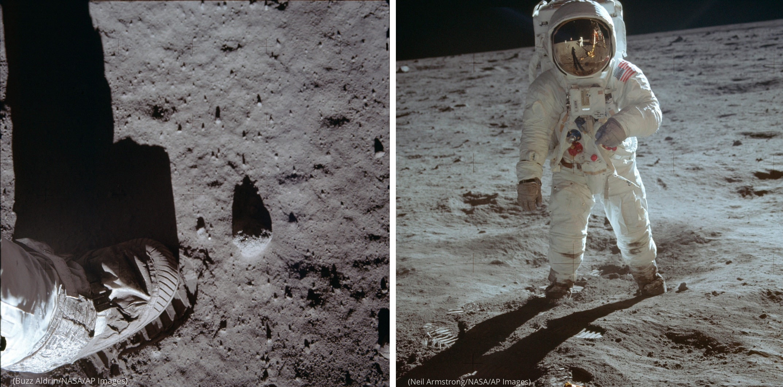 Foto de un pie en la superficie de lunar (Buzz Aldrin/NASA/AP Images) junto a la foto de un hombre en traje espacial en la superficie de la Luna (Neil Armstrong/NASA/AP Images)