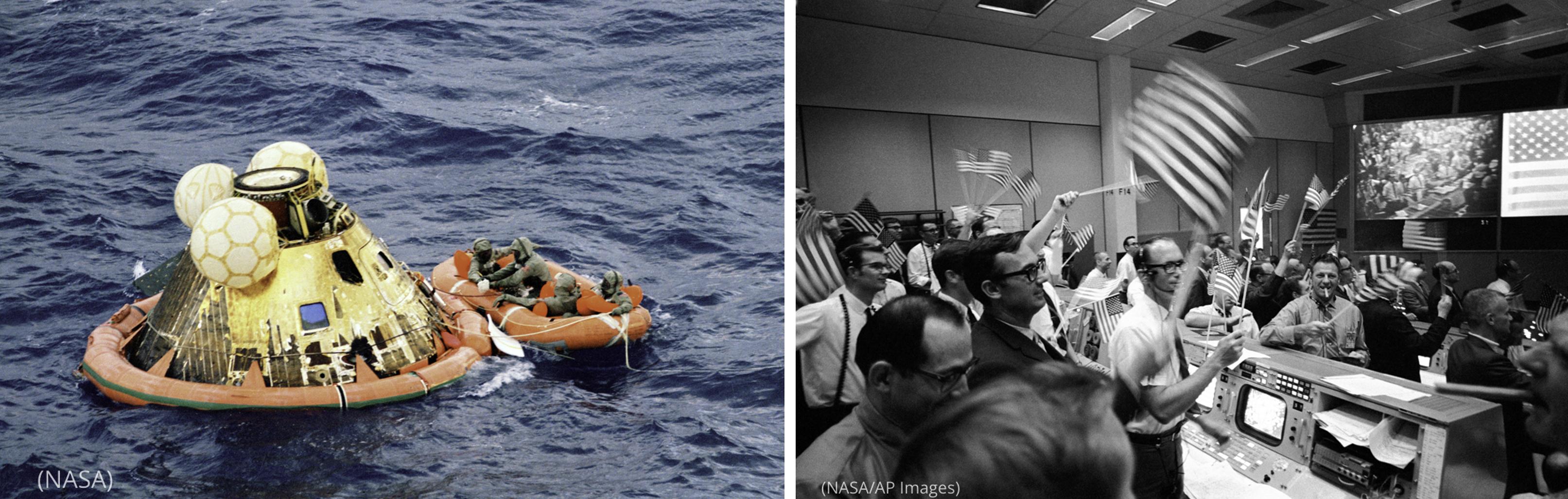 Foto del módulo lunar flotando en el océano (NASA) junto a una foto de hombres que ondean banderas estadounidenses en un cuarto con computadoras y una enorme pantalla elevada (NASA/AP Images)