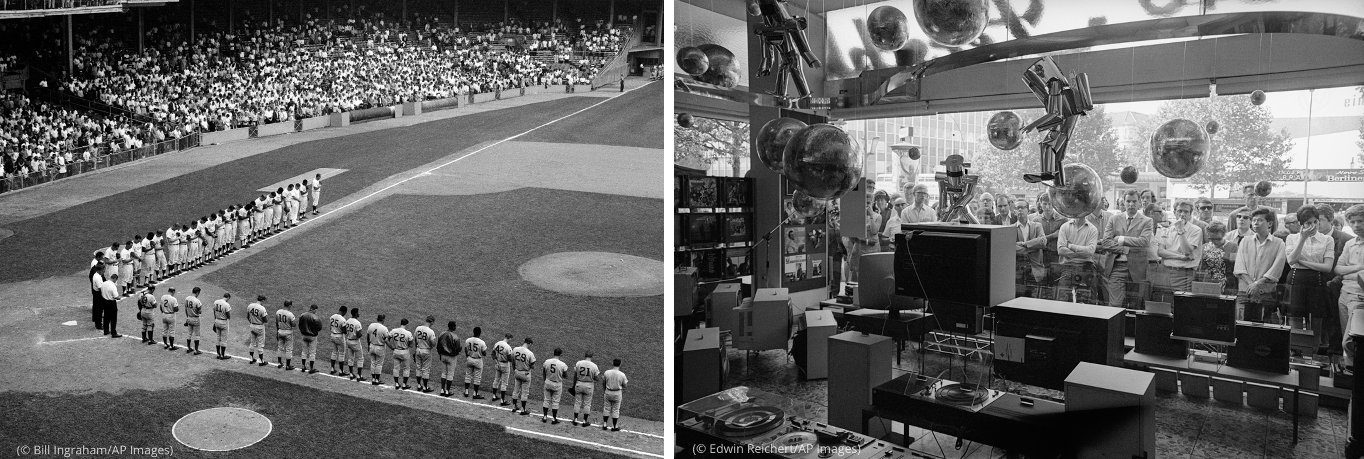 Photo of players lined up on baseball field (© Bill Ingraham/AP Images) next to photo of crowd watching TV through storefront window (© Edwin Reichert/AP Images)