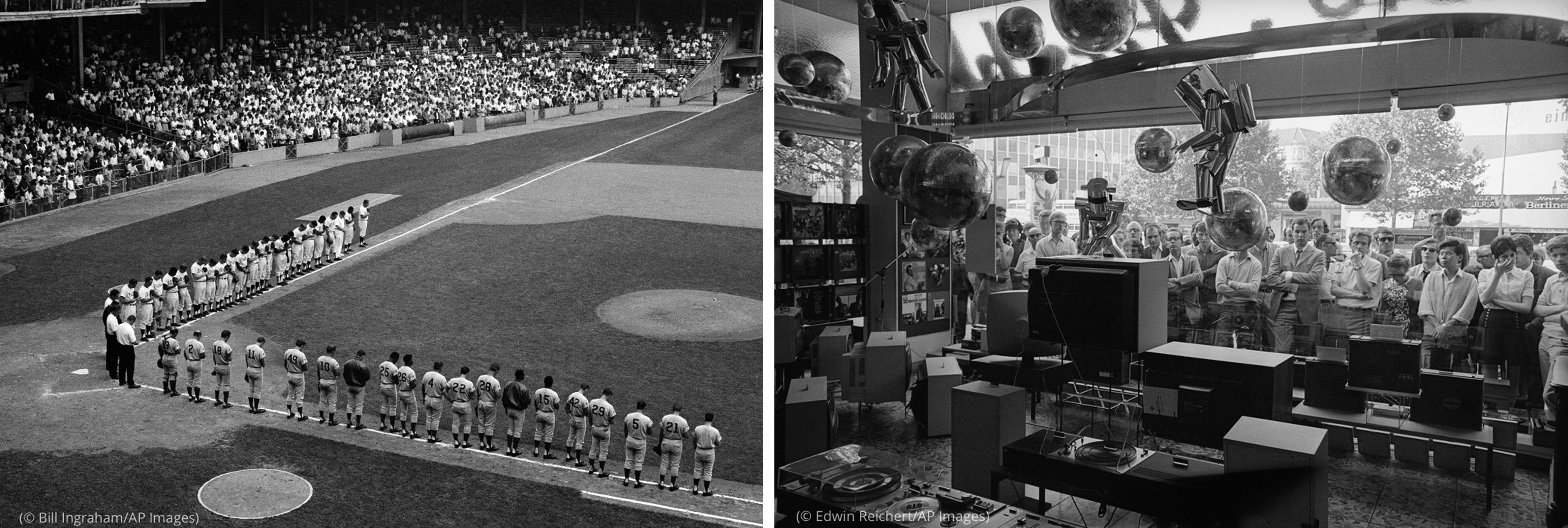 Foto de jugadores formados en un campo de béisbol (© Bill Ingraham/AP Images) junto a una foto de una multitud que mira la televisión a través de la ventana del escaparate de una tienda (© Edwin Reichert/AP Images)