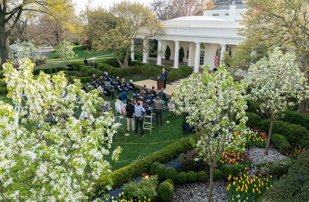 Person on podium in lawn in front of small crowd, surrounded by plants and trees (White House/Joyce N. Boghosian)