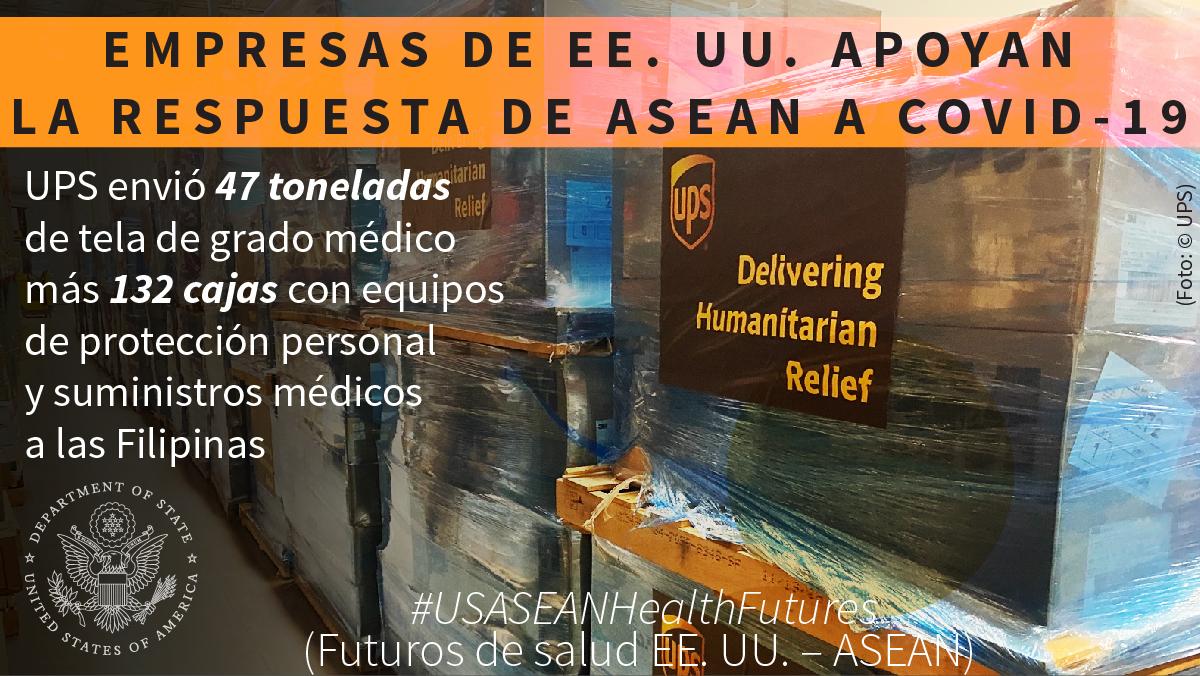 Palés para embarque con el letrero de 'UPS' y texto superpuesto que dice 'Empresas de EE. UU. apoyan la respuesta de ASEAN a COVID-19' (Depto. de Estado/Foto: © UPS)