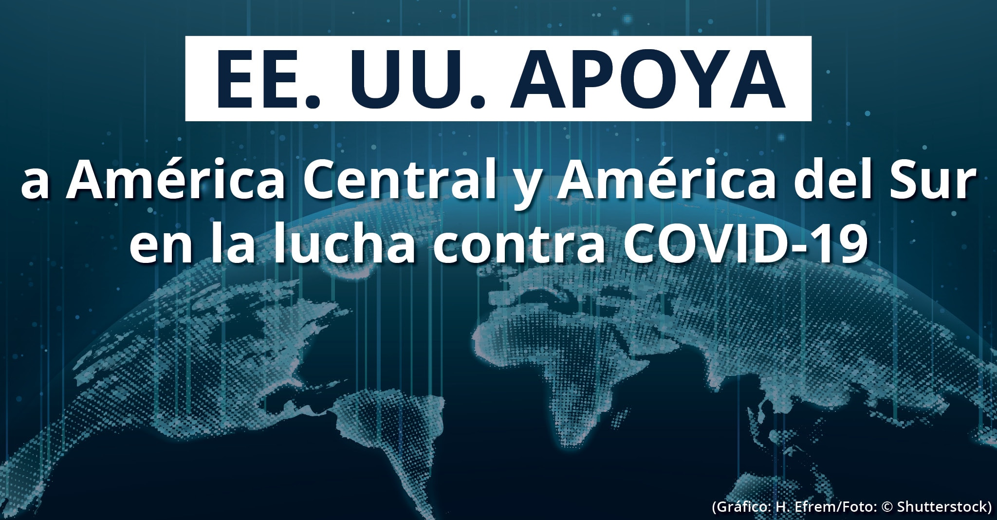 Gráfica con la Tierra y texto que dice 'EE. UU. apoya a América Central y América del Sur en la lucha contra COVID-19' (Gráfica: H. Efrem/Foto: © Shutterstock)